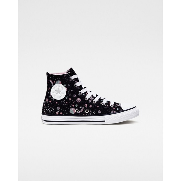Kids Converse Chuck Taylor All Star Shoes Black/White/Silver 666397C
