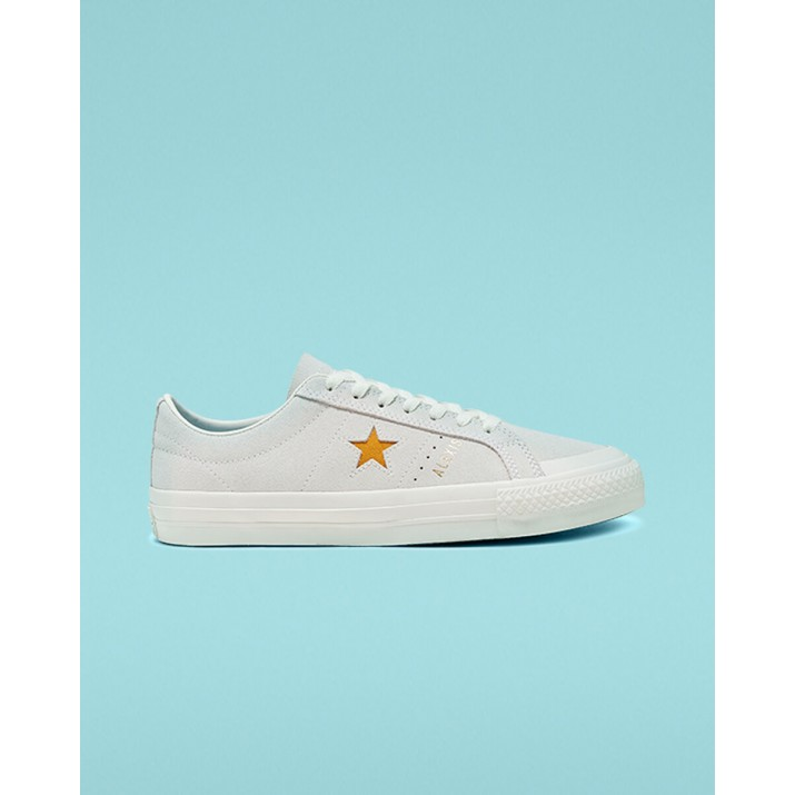 Womens Converse One Star Shoes White/Gold 166401C
